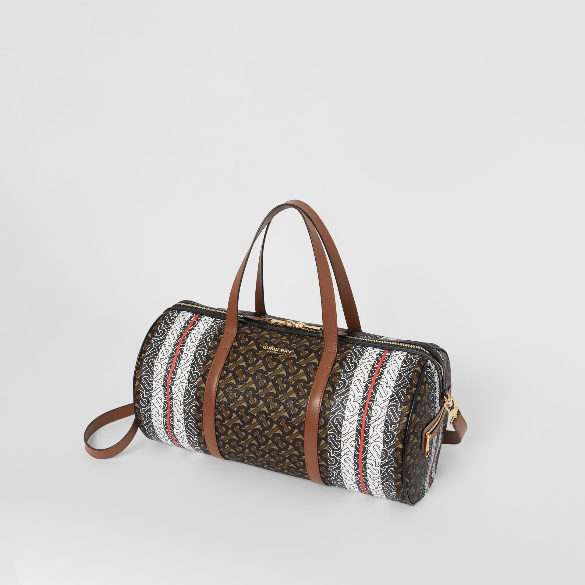 Medium Monogram Stripe E-canvas Barrel Bag in Bridle Brown | Burberry - gallery image 4
