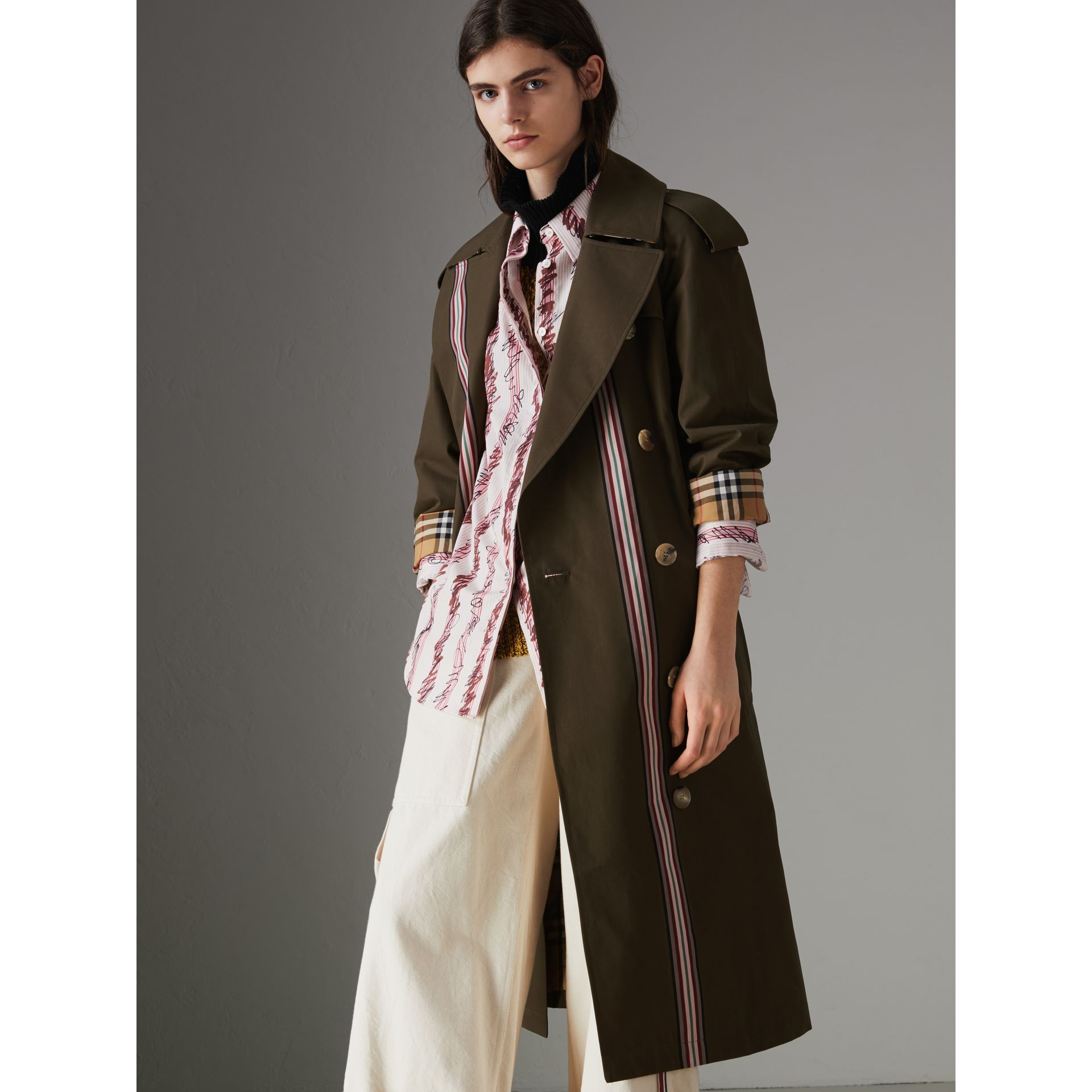 Collegiate Stripe Cotton Gabardine Trench Coat in Olive - Women | Burberry - gallery image 7