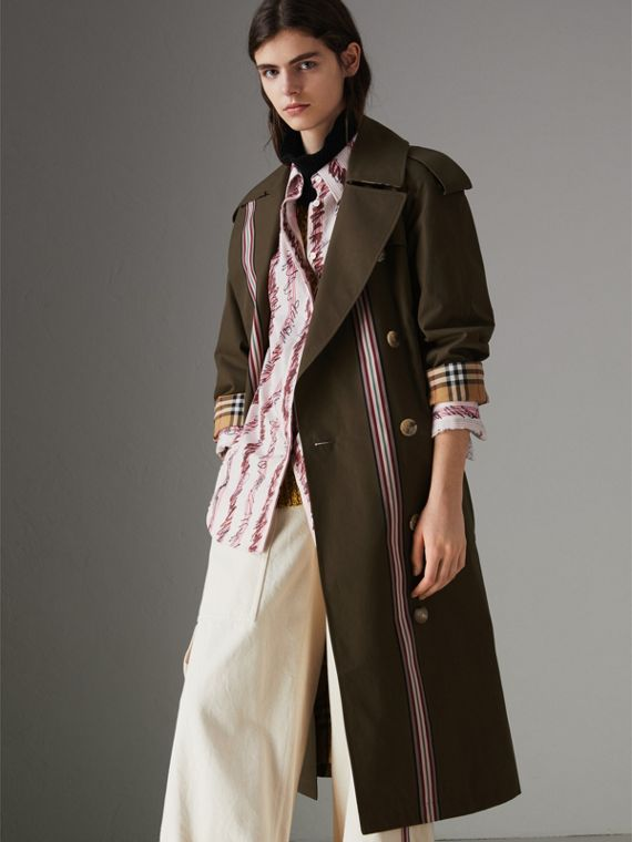 Striped Ribbon Cotton Gabardine Trench Coat in Olive
