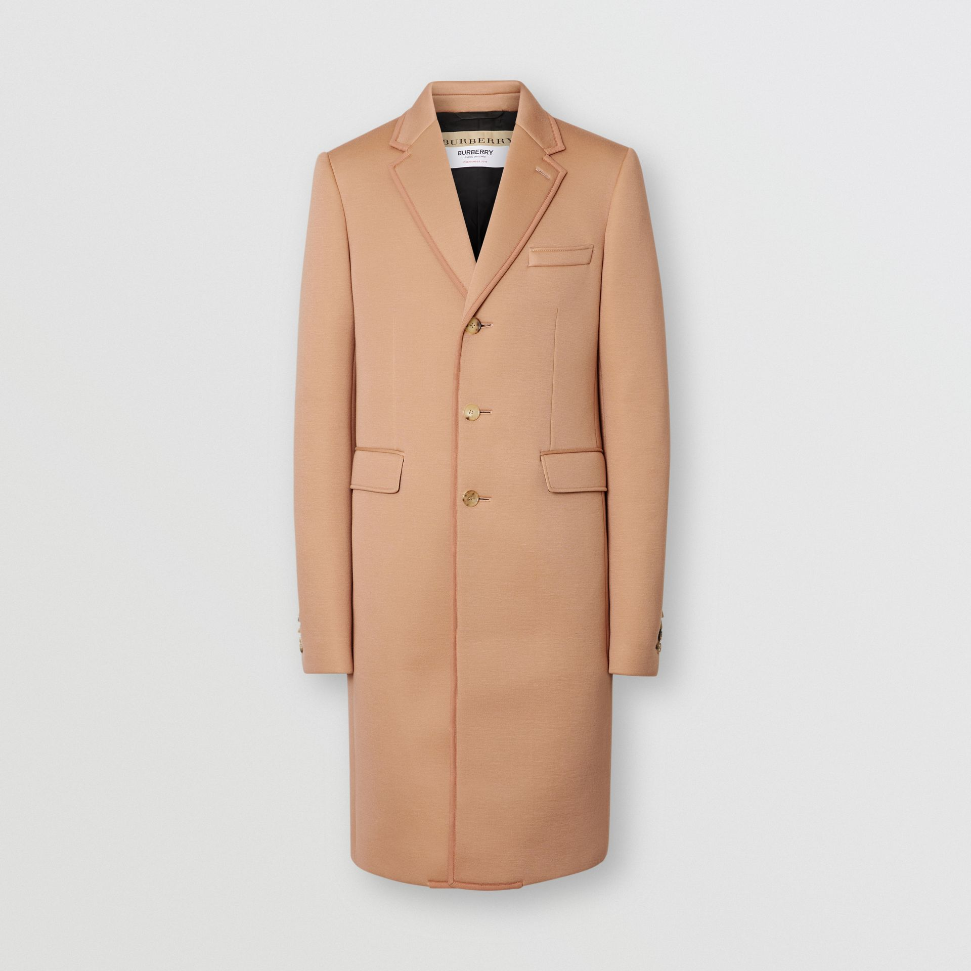 Neoprene Tailored Coat in Beige | Burberry - gallery image 3