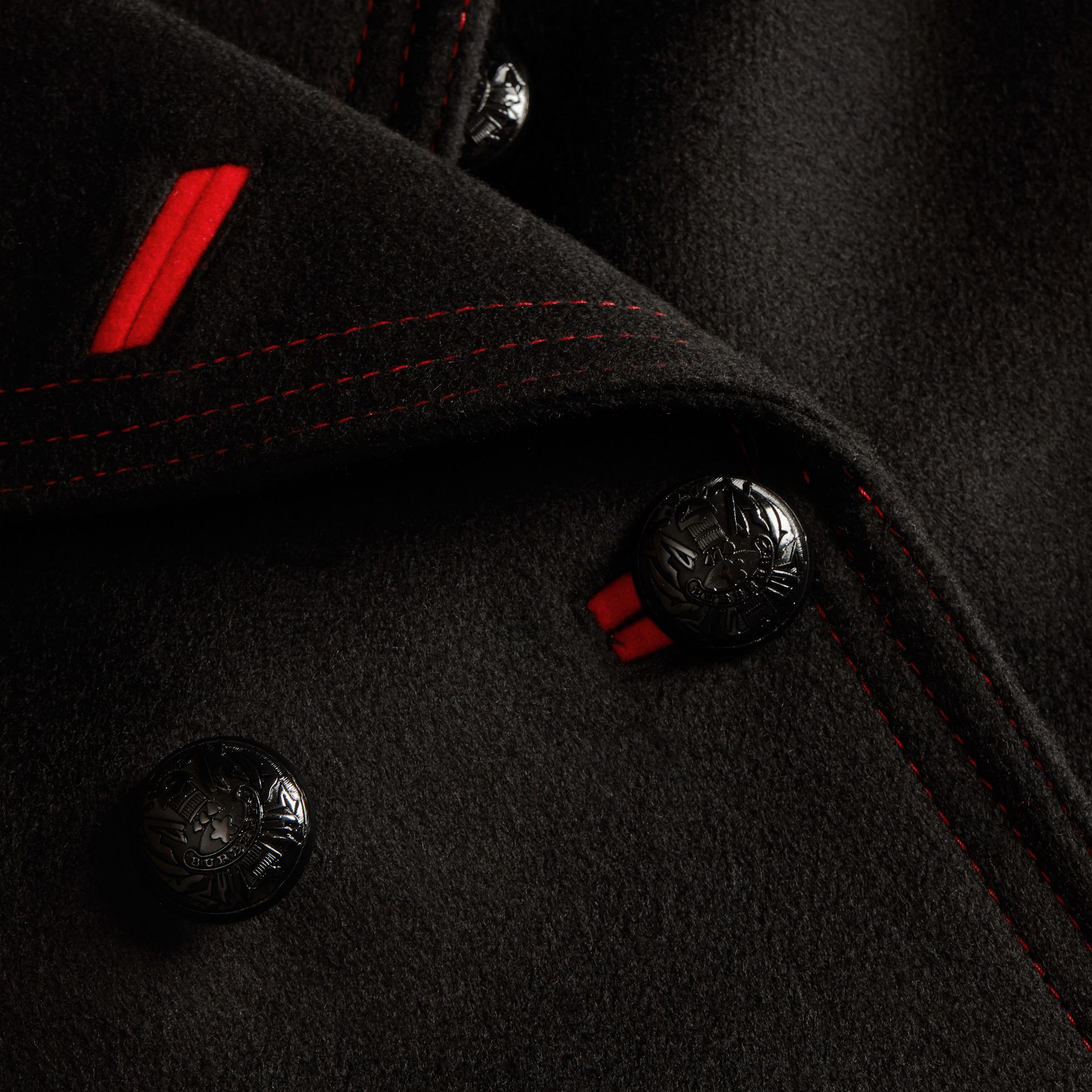 Black Shearling Collar Wool Pea Coat - gallery image 2