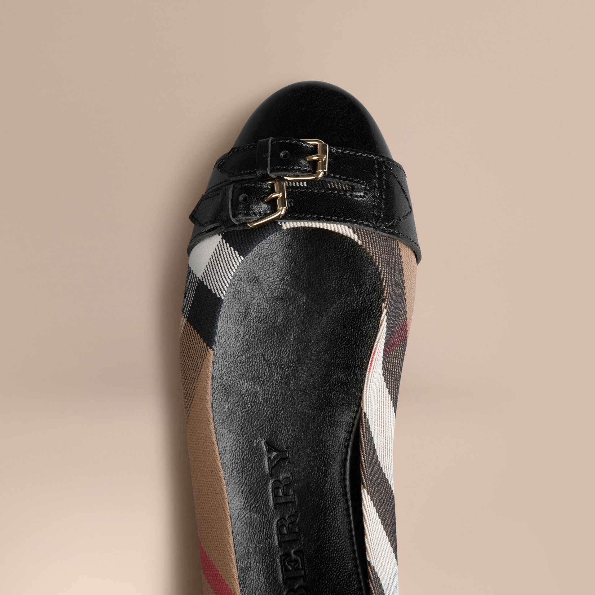 Black Belt Detail House Check Ballerinas - gallery image 5