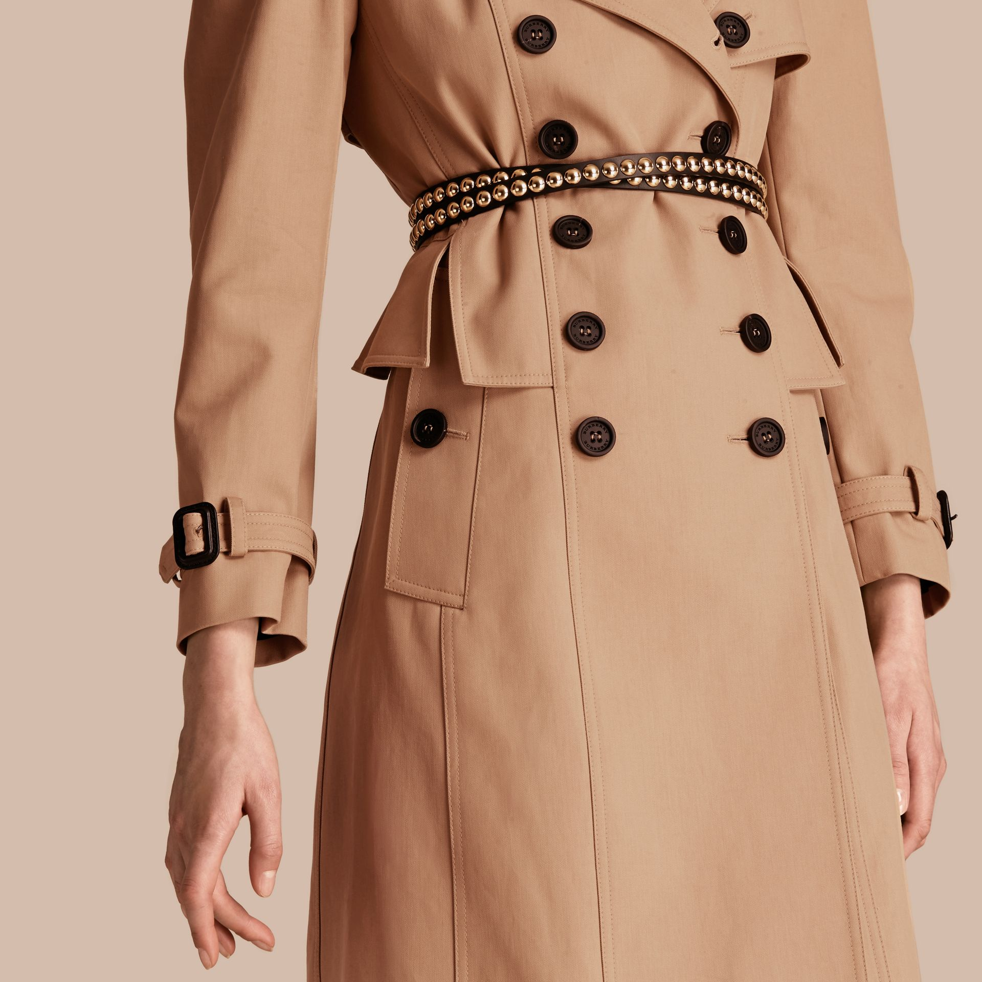 Honey Cotton Gabardine Trench Coat with Notched Waist - gallery image 5