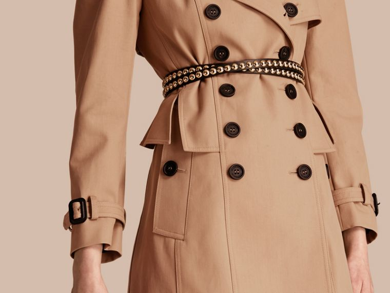 Honey Cotton Gabardine Trench Coat with Notched Waist - cell image 4
