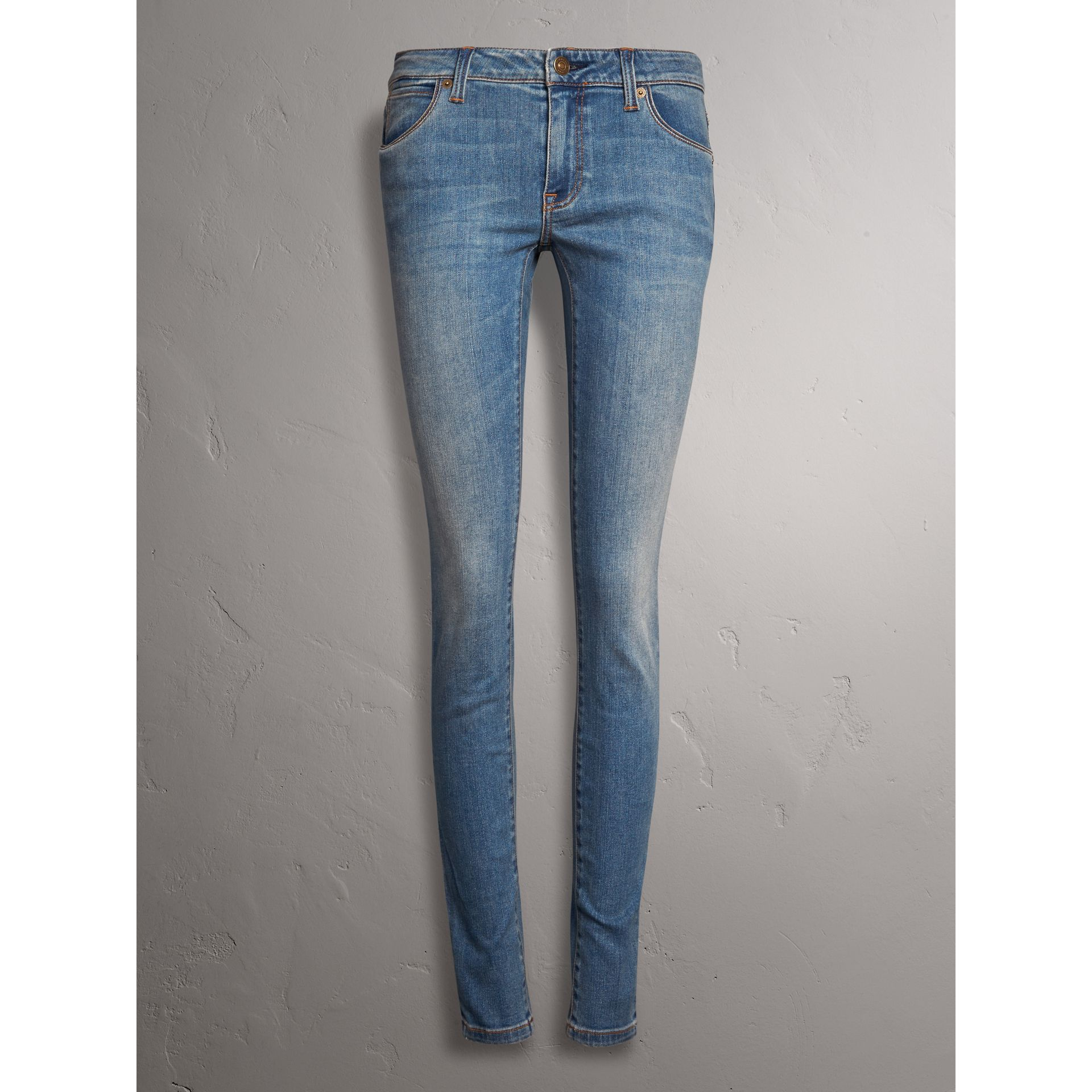 Skinny Low-Rise Vintage Wash Jeans in Mid Indigo - Women | Burberry - gallery image 4