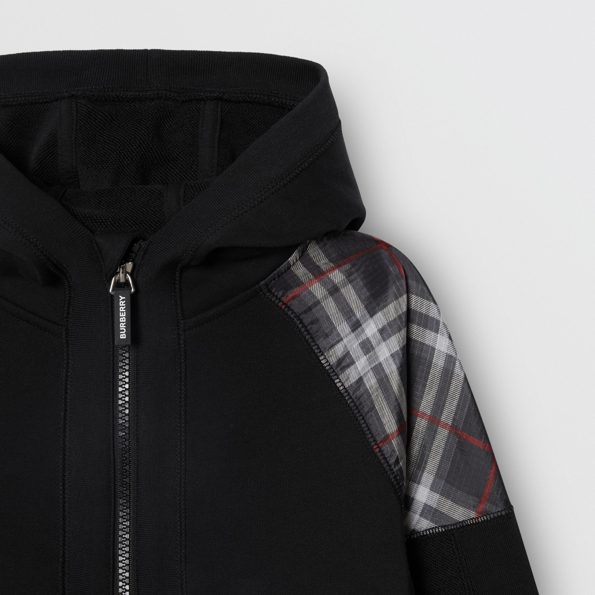 Vintage Check Panel Cotton Hooded Top in Black | Burberry Canada - gallery image 4