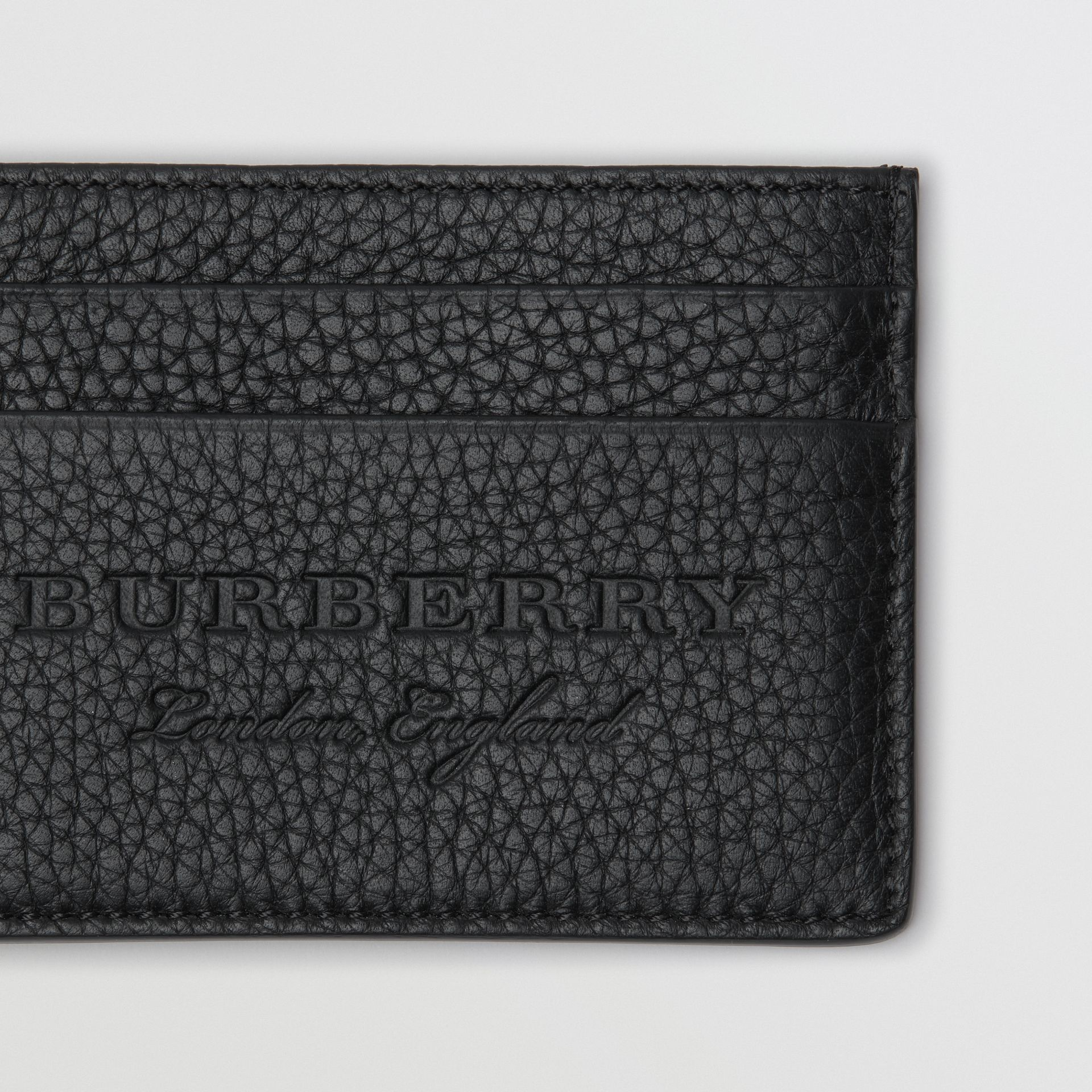 Textured Leather Card Case in Black | Burberry - gallery image 1