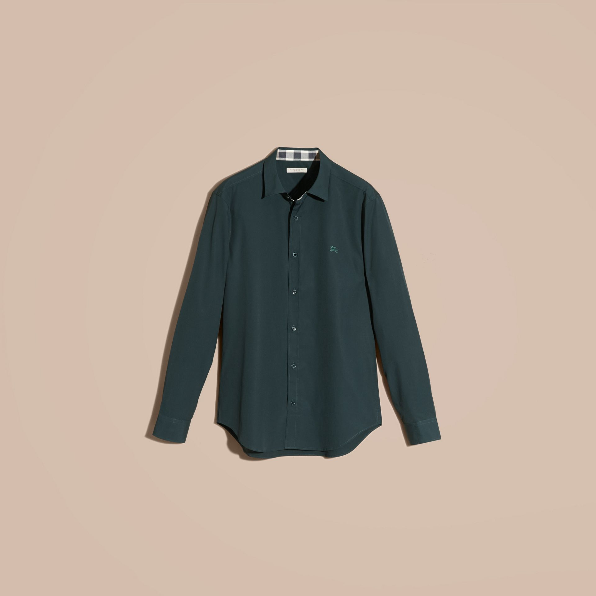 Check Detail Stretch Cotton Poplin Shirt in Dark Teal Green - gallery image 4