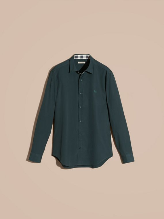 Check Detail Stretch Cotton Poplin Shirt in Dark Teal Green - cell image 3