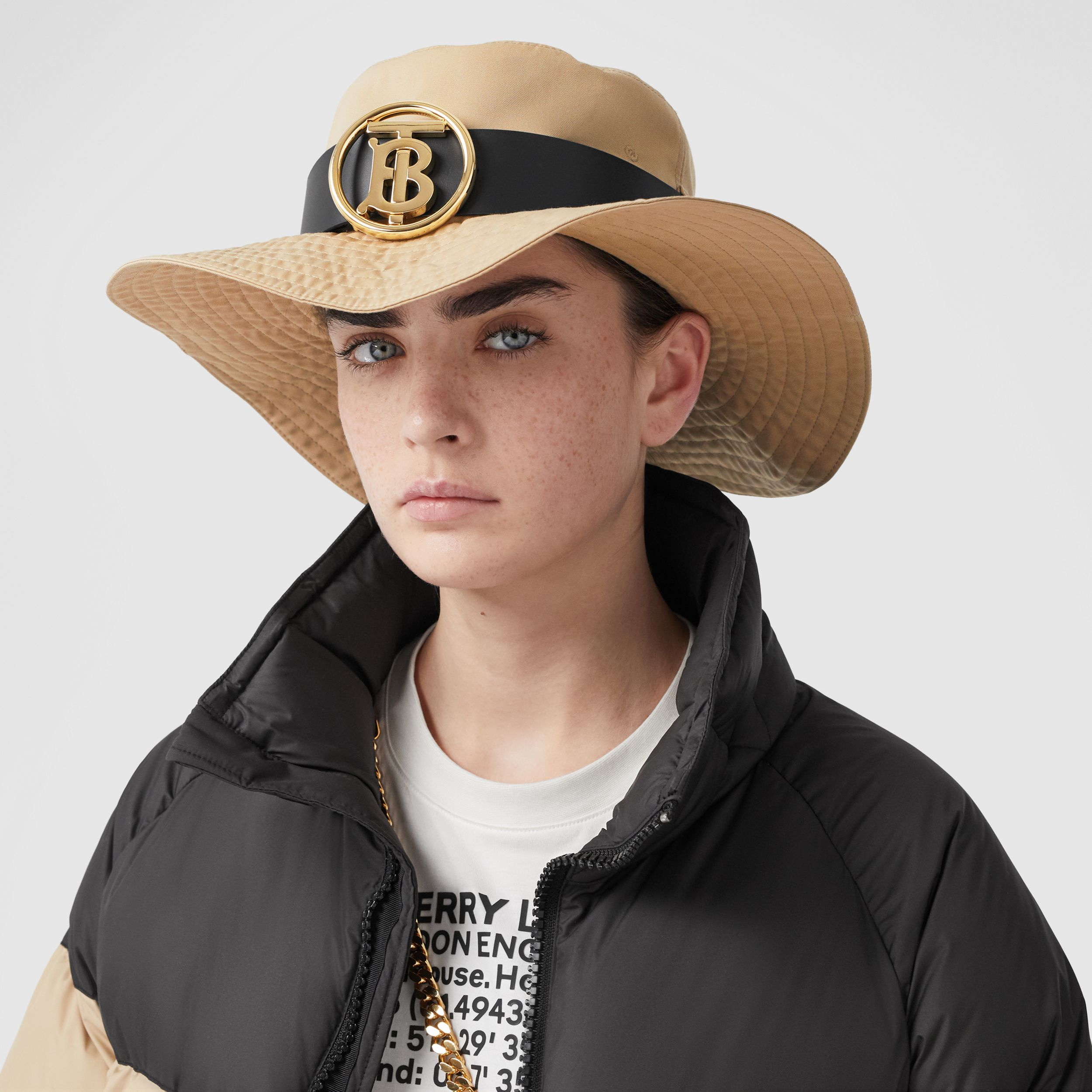 Monogram Motif Leather Belt Detail Cotton Desert Hat in Honey | Burberry - 3