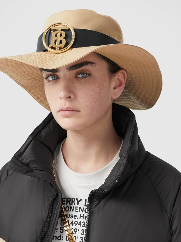 Monogram Motif Leather Belt Detail Cotton Desert Hat in Honey | Burberry Canada - cell image 2