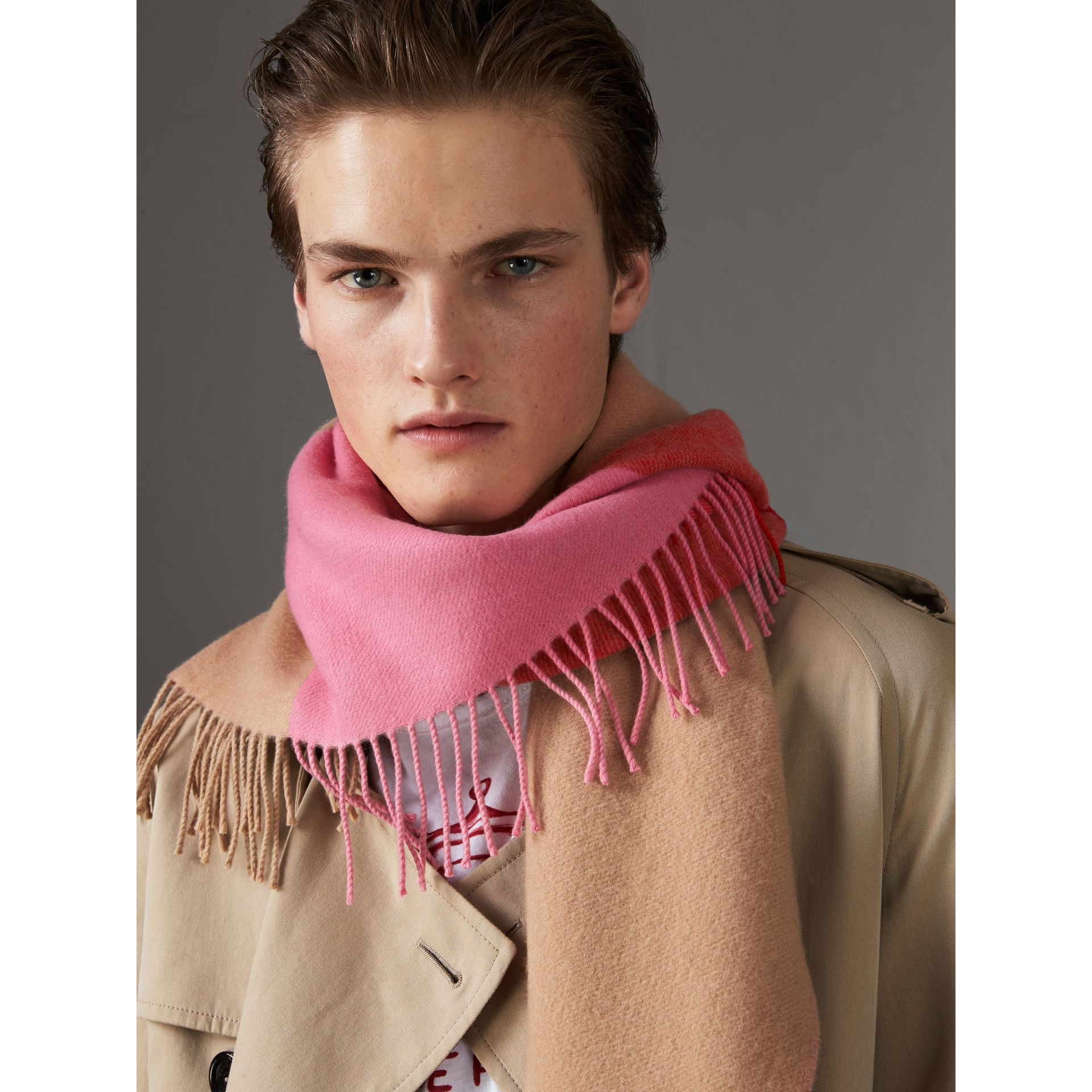 The Burberry Bandana in Striped Cashmere in Rose Pink | Burberry - gallery image 7