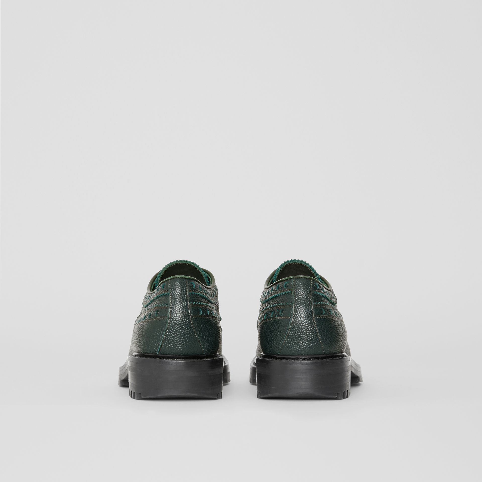 Brogue Detail Grainy Leather Derby Shoes in Deep Viridian Green - Men | Burberry Singapore - gallery image 4