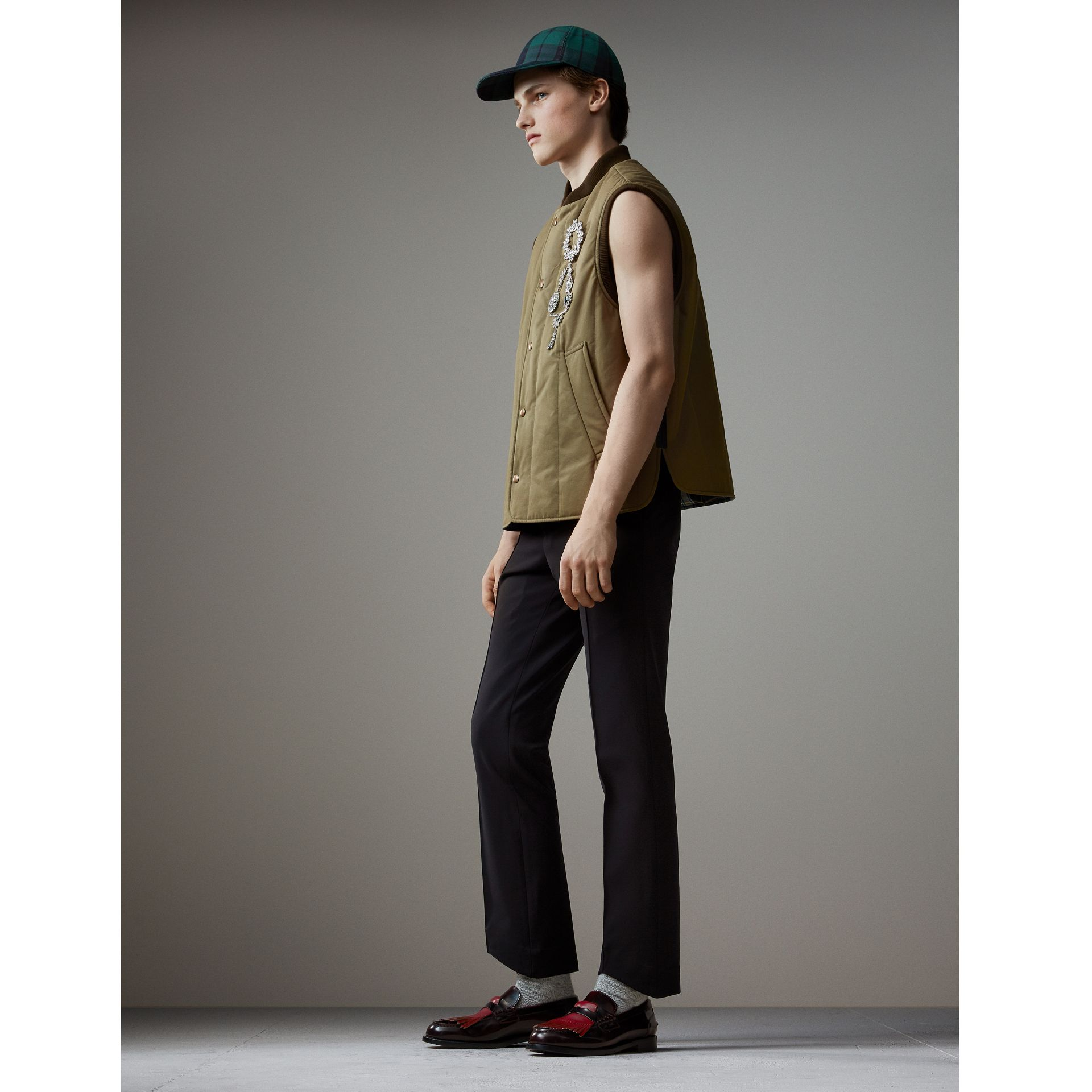 Quilted Cotton Poplin Gilet in Pale Olive - Men | Burberry Australia - gallery image 1