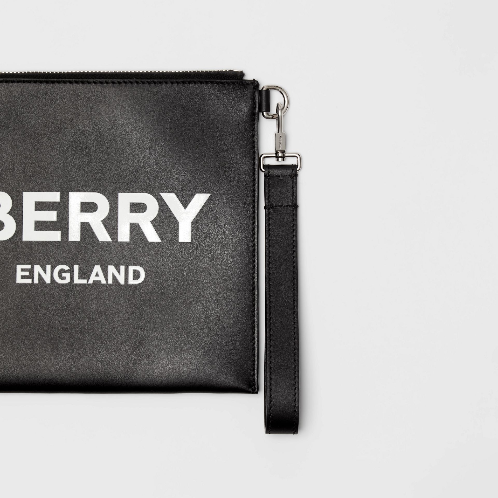 Logo Print Zip Pouch in Black | Burberry - gallery image 1