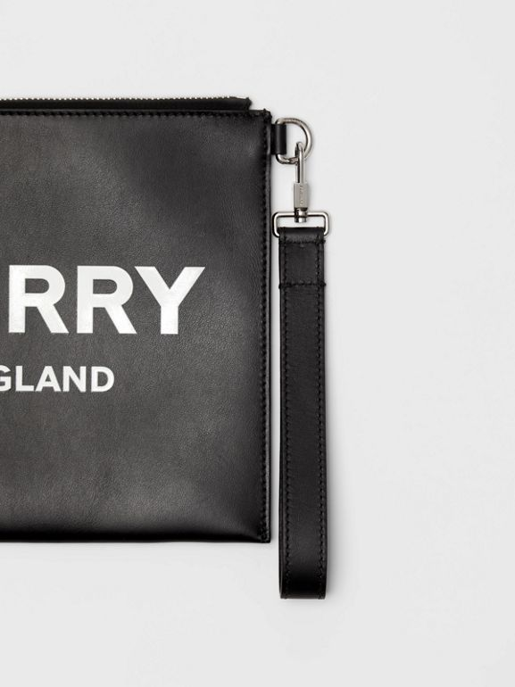 Logo Print Zip Pouch in Black | Burberry - cell image 1