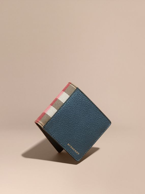 Leather and House Check International Bifold Wallet in Storm Blue | Burberry
