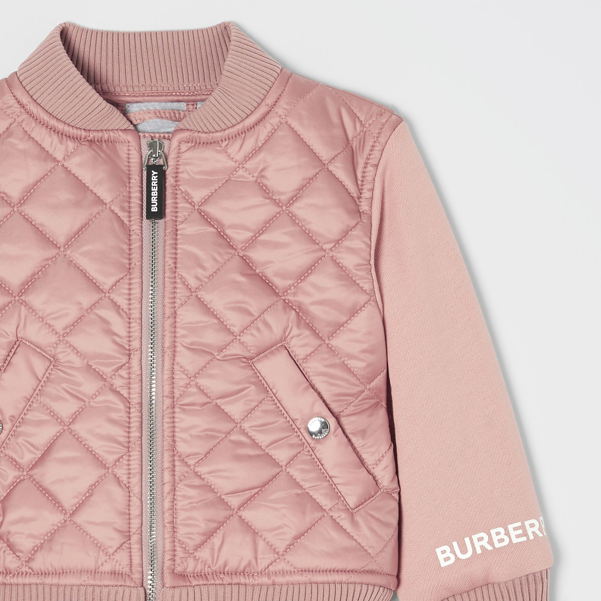 Contrast Sleeve Diamond Quilted Bomber Jacket in Lavender Pink - Children | Burberry - gallery image 4
