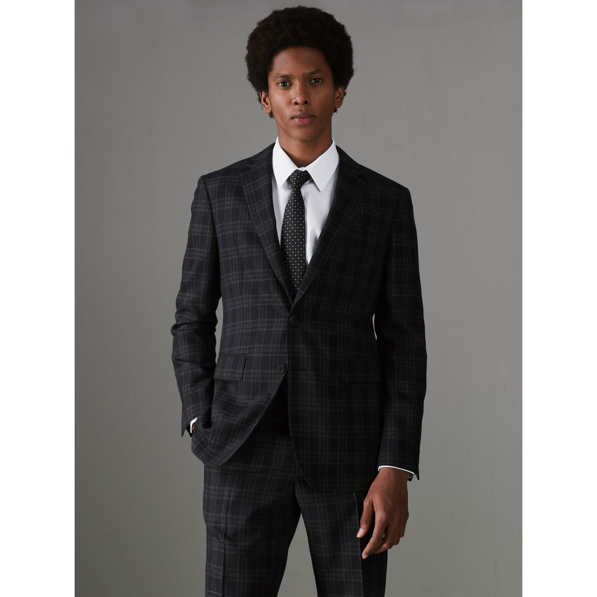 Soho Fit Check Wool Suit in Black - Men | Burberry - gallery image 5