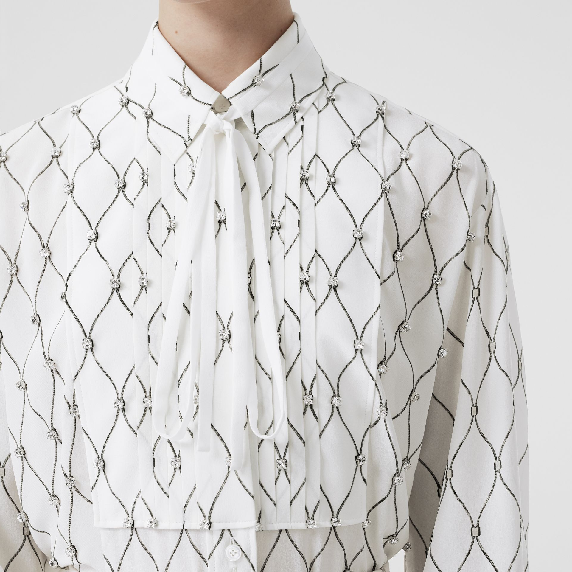 Crystal Detail Net Print Silk Oversized Tie-neck Shirt in White - Women | Burberry United Kingdom - gallery image 1