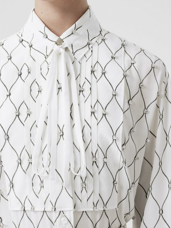 Crystal Detail Net Print Silk Oversized Tie-neck Shirt in White - Women | Burberry Hong Kong S.A.R - cell image 1