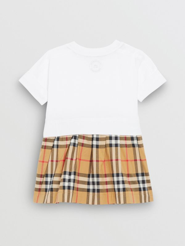 Vintage Check Cotton Dress with Bloomers in White - Children | Burberry - cell image 3