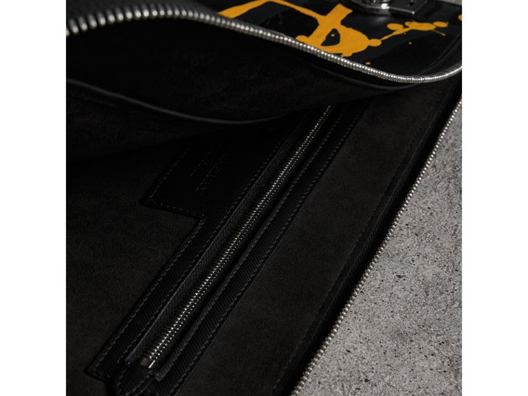 Splash Trench Leather Document Case in Black/yellow - Men | Burberry Singapore - cell image 4