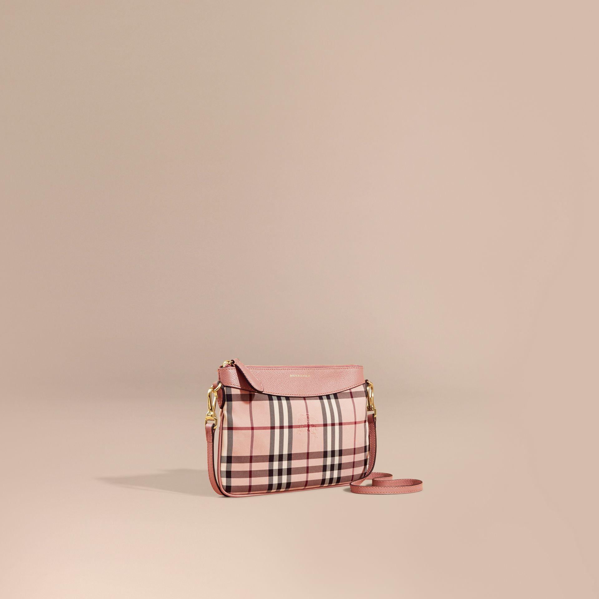 Ash rose/ dusty pink Horseferry Check and Leather Clutch Bag Ash Rose/ Dusty Pink - gallery image 1