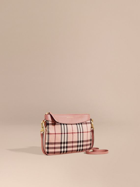 Horseferry Check and Leather Clutch Bag Ash Rose/ Dusty Pink