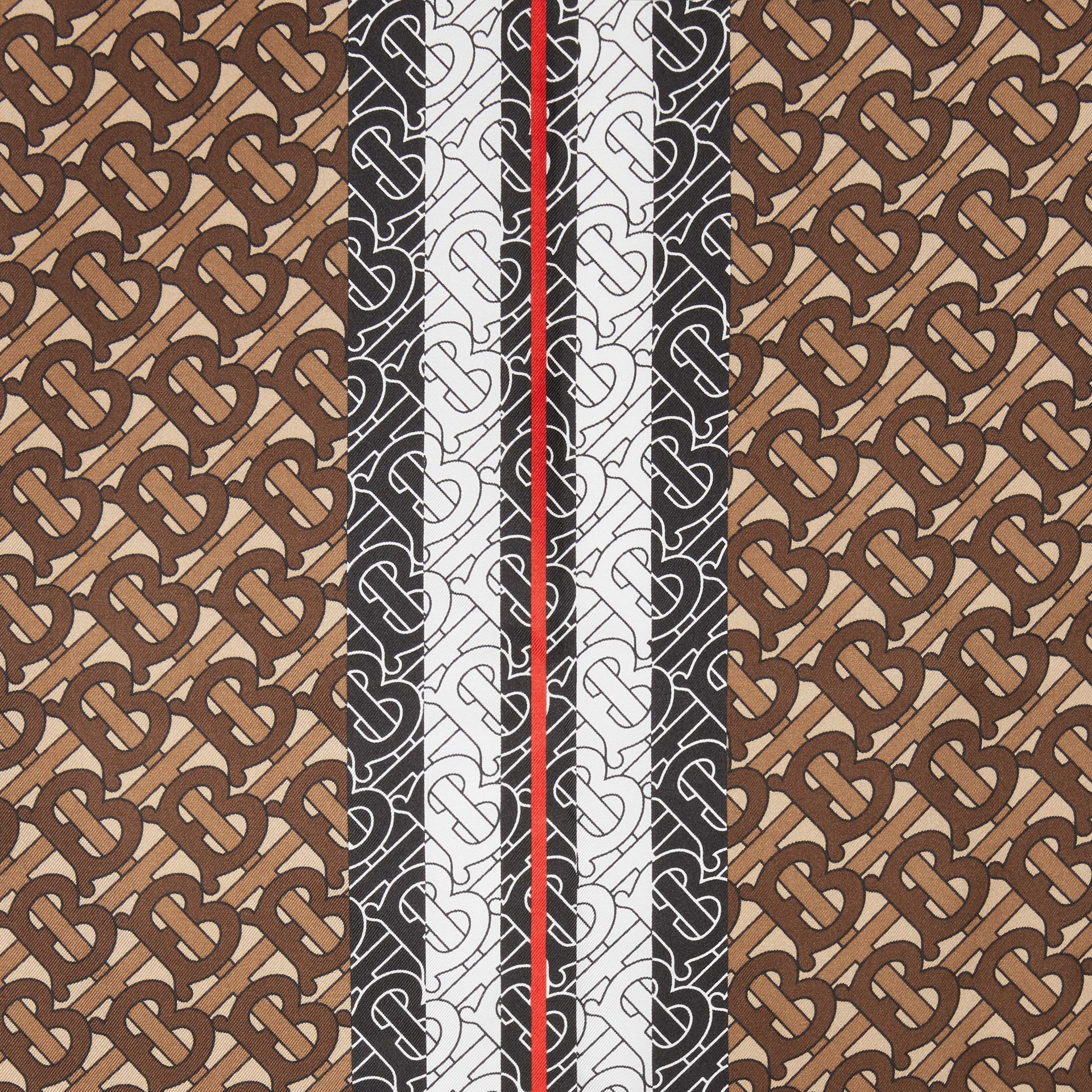 Monogram Stripe Print Silk Square Scarf in Bridle Brown | Burberry Singapore - gallery image 1