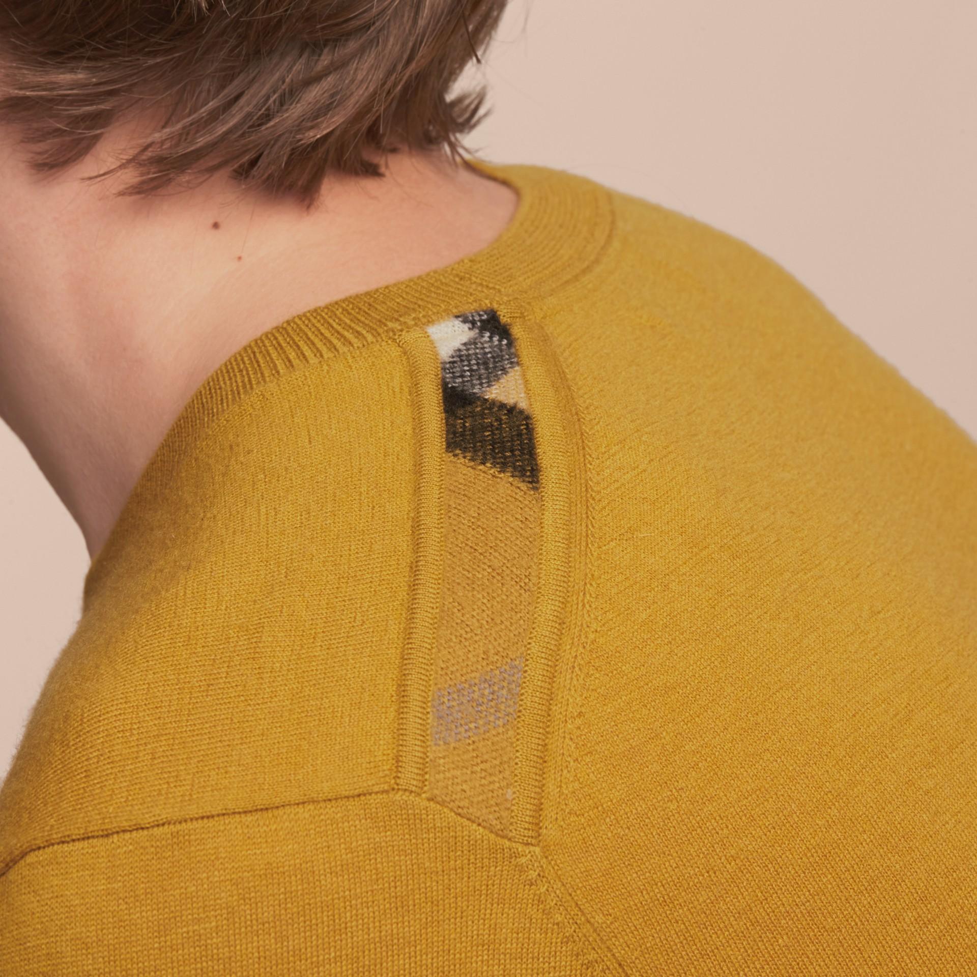 Lightweight Crew Neck Cashmere Sweater with Check Trim Cornflower Yellow - gallery image 5