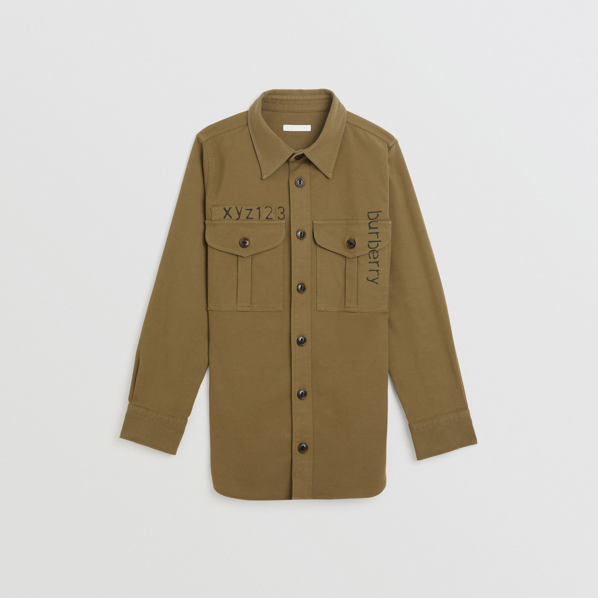 Stencil Print Cotton Wool Army Shirt in Olive | Burberry United Kingdom - gallery image 0