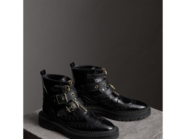 Buckled Leather Brogue Ankle Boots in Black - Women | Burberry - cell image 4