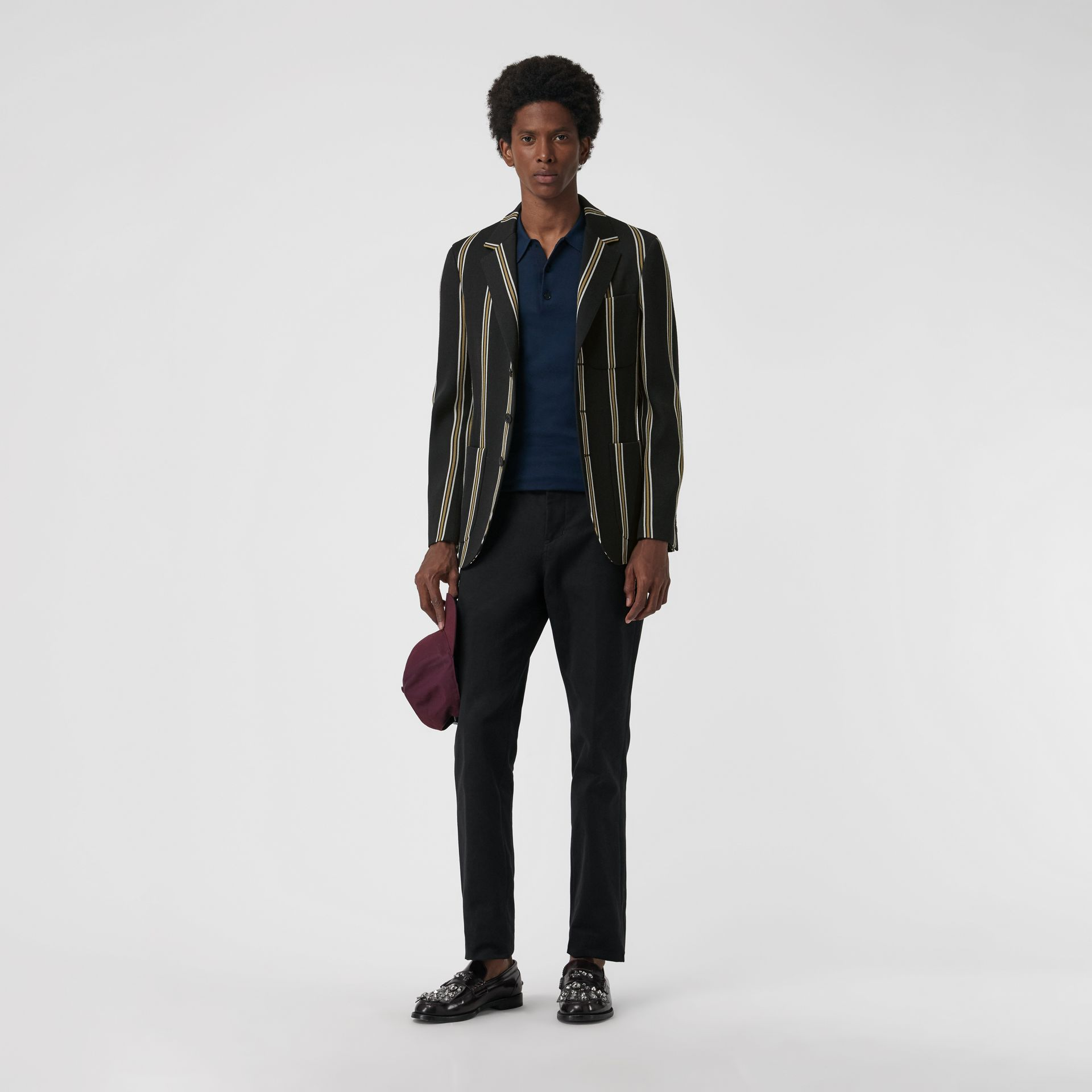 Slim fit Striped Wool Blend Club Blazer in Black - Men | Burberry - gallery image 0
