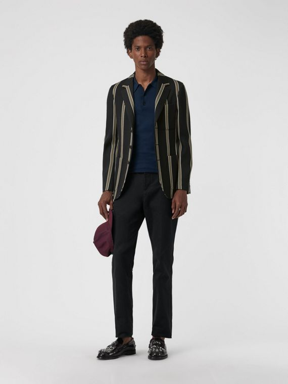 Slim fit Striped Wool Blend Club Blazer in Black