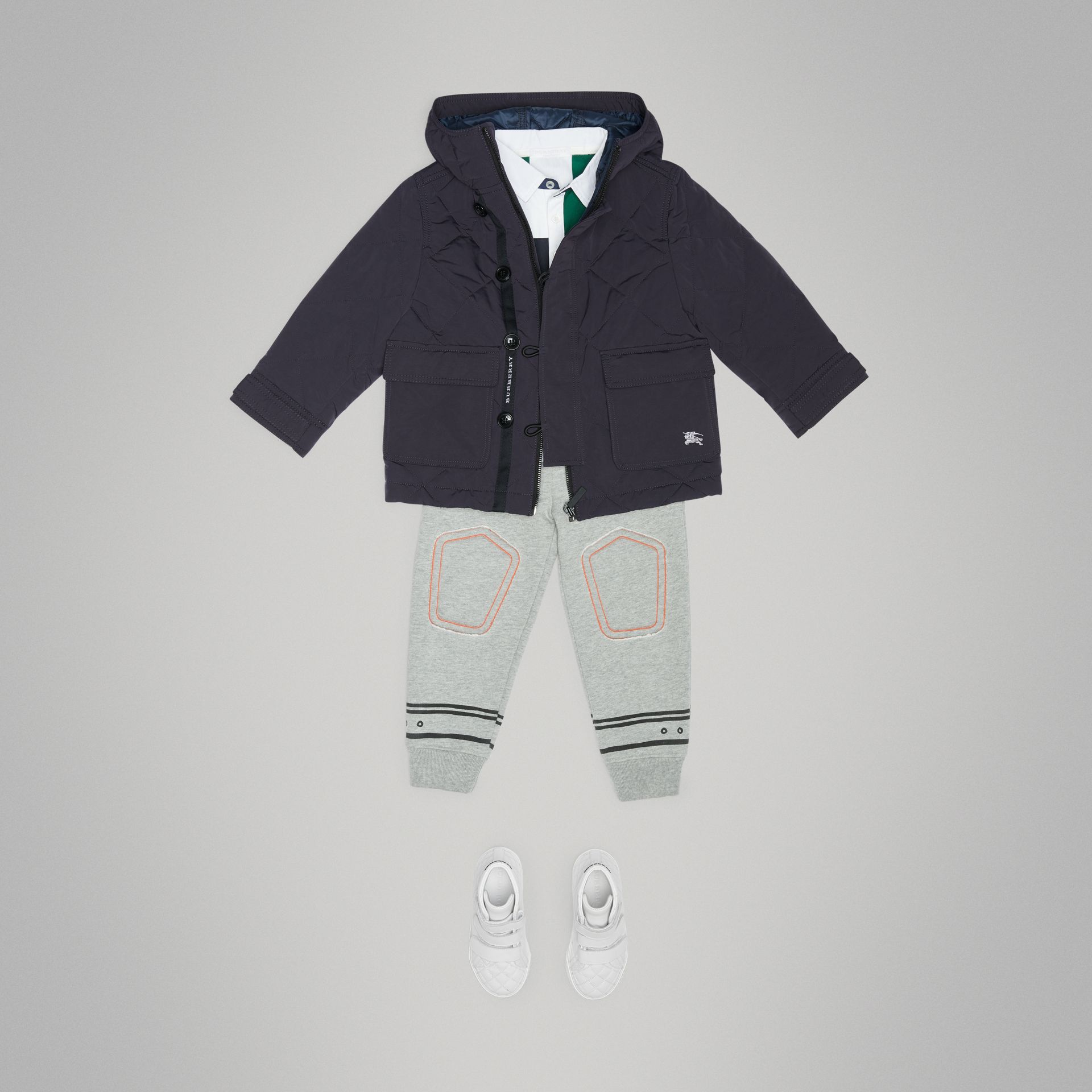 Diamond Quilted Hooded Jacket in Navy - Children | Burberry - gallery image 2