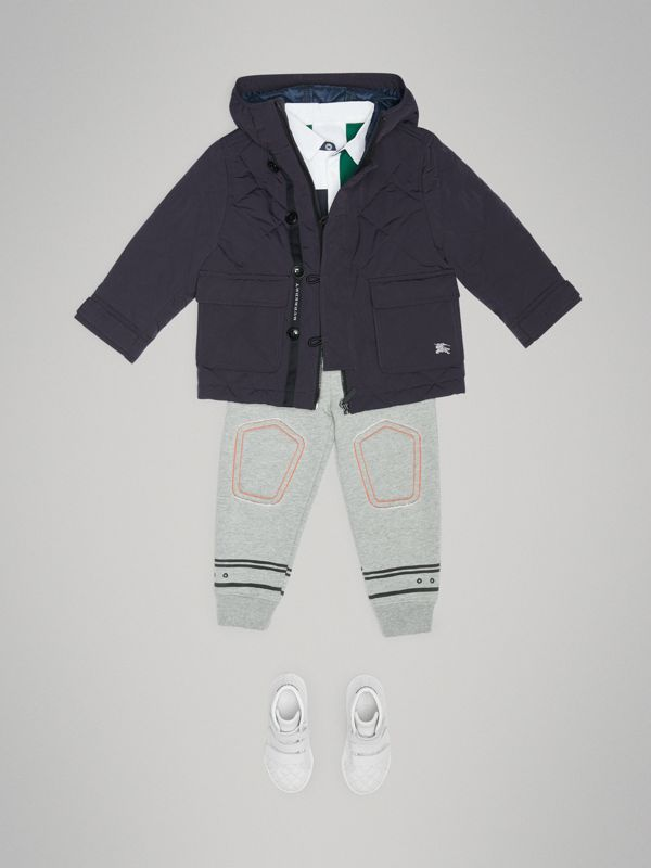 Diamond Quilted Hooded Jacket in Navy - Children | Burberry - cell image 2