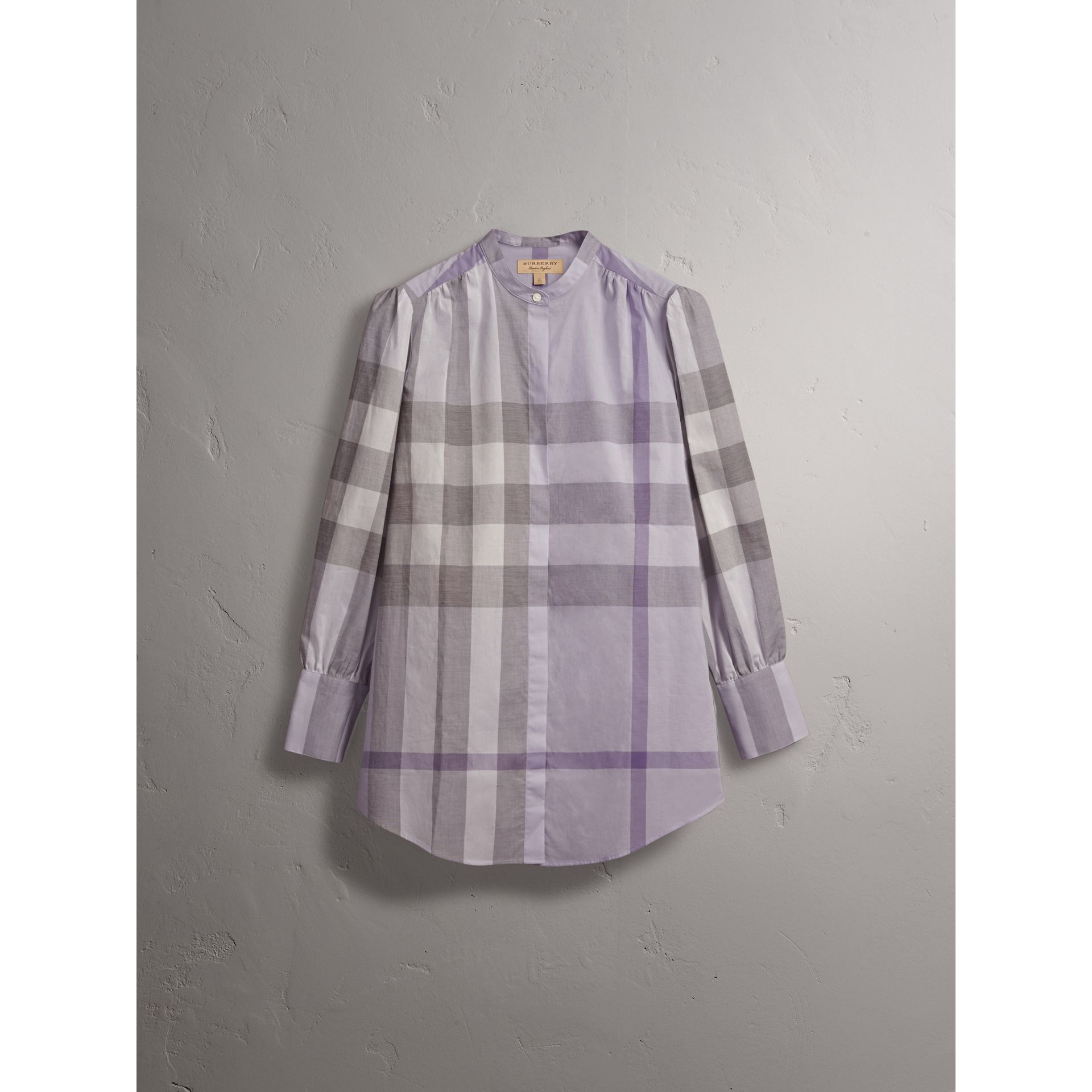 Grandad Collar Check Cotton Tunic Shirt in Pale Wisteria - Women | Burberry - gallery image 3