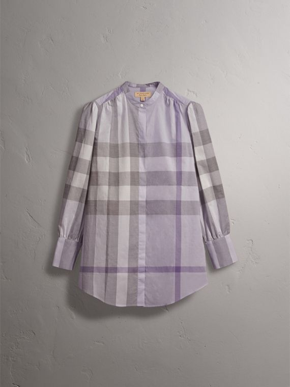 Grandad Collar Check Cotton Tunic Shirt in Pale Wisteria - Women | Burberry - cell image 3