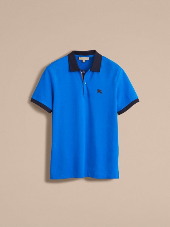 Two-tone Check Placket Cotton Piqué Polo Shirt Bright Opal - cell image 3