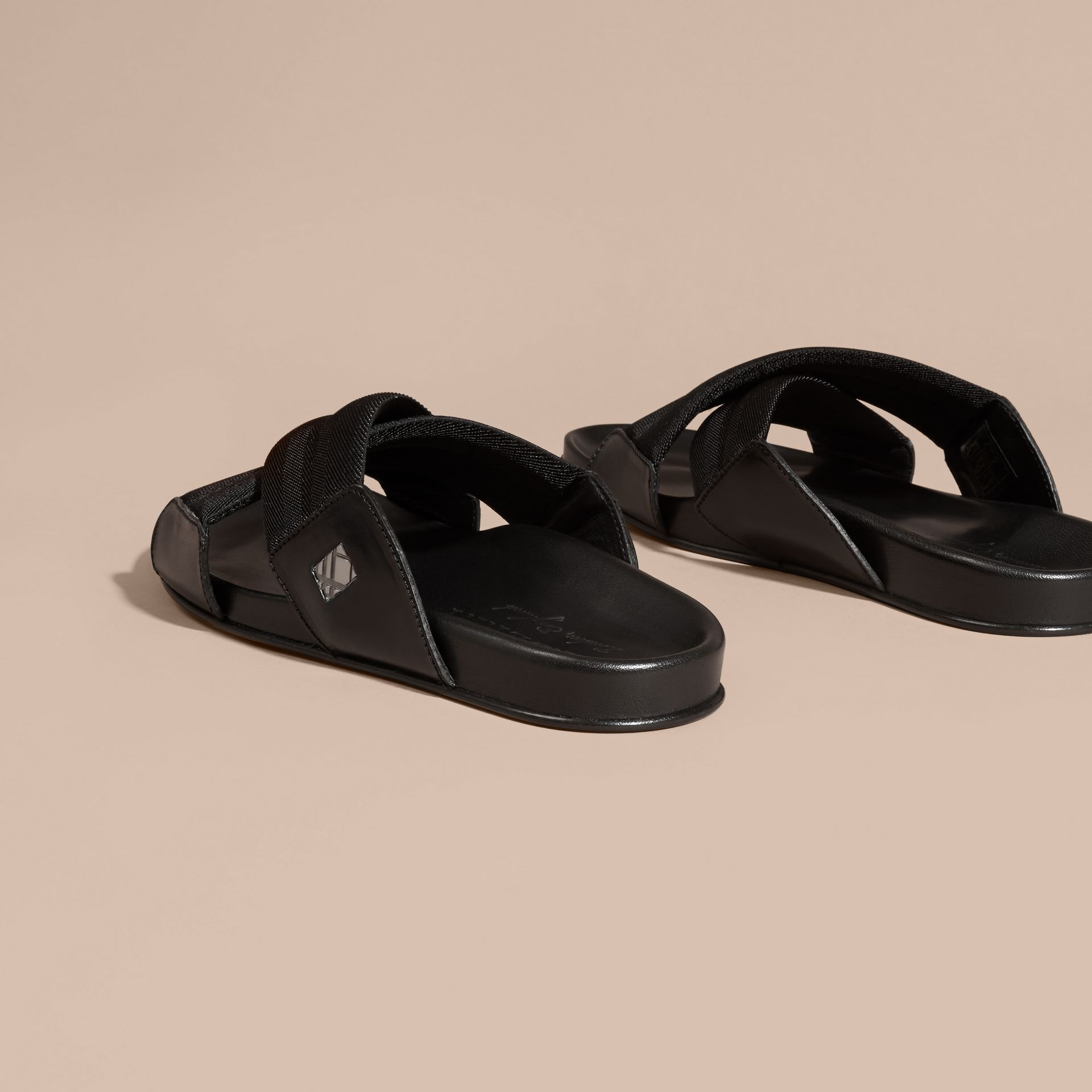 Black Check Detail Technical Web and Leather Sandals - gallery image 4