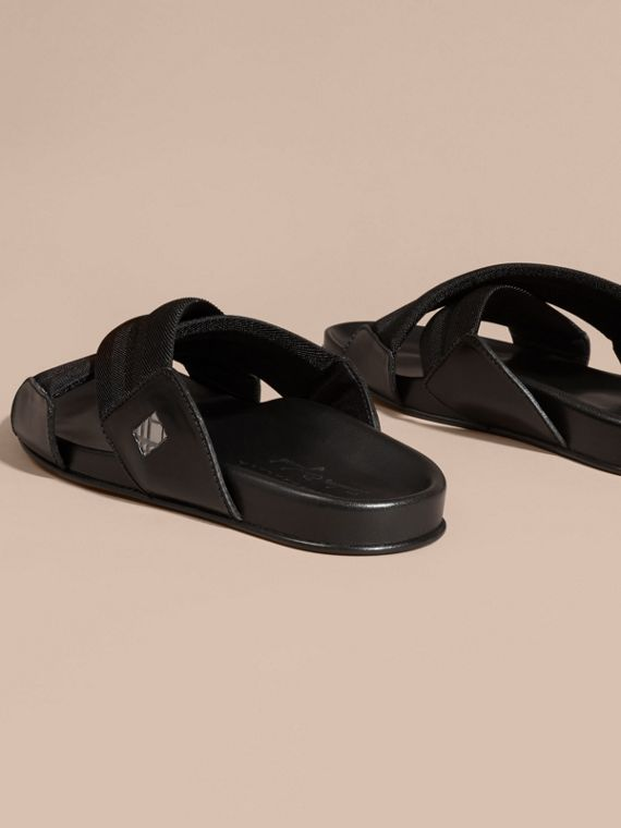 Black Check Detail Technical Web and Leather Sandals - cell image 3
