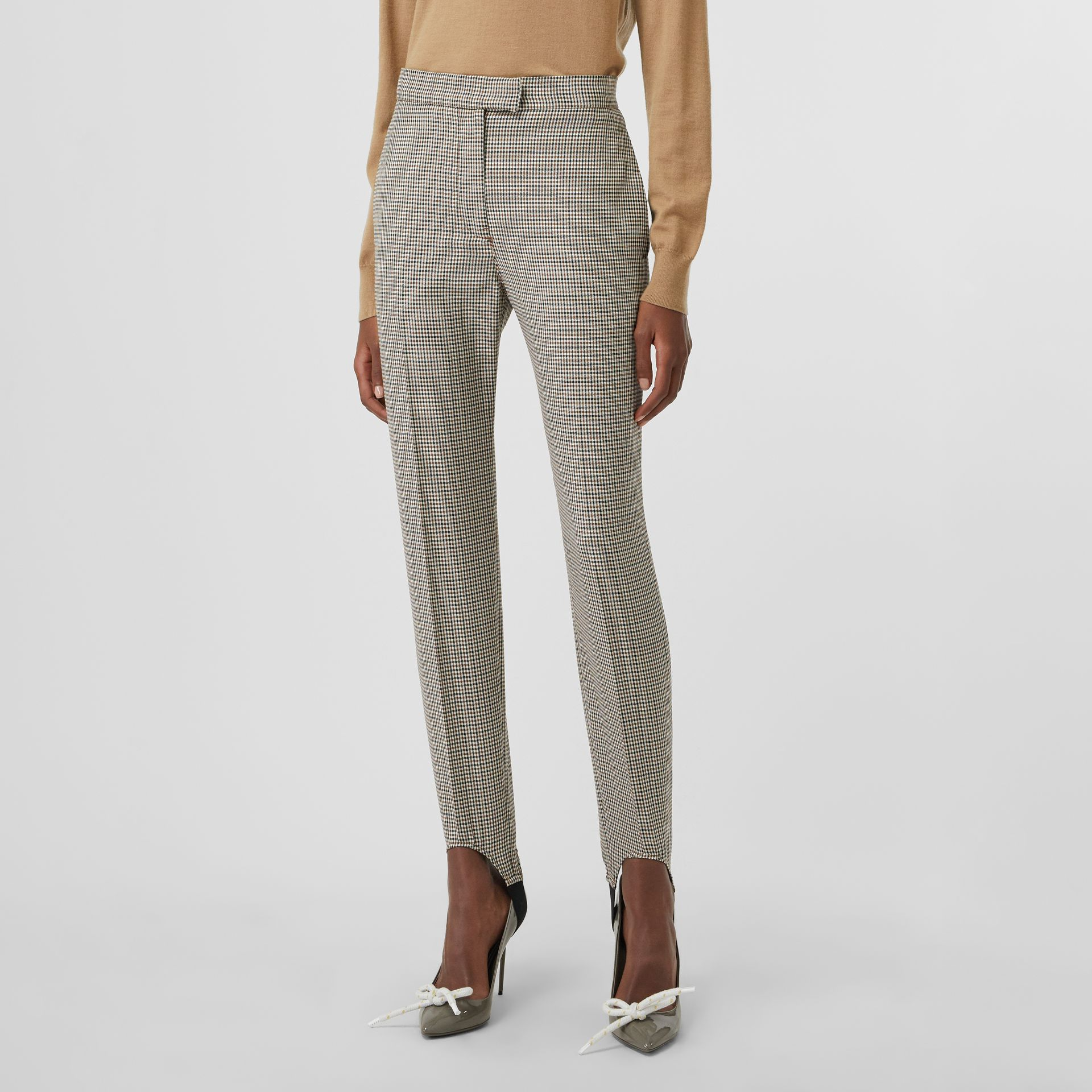Houndstooth Check Stretch Wool Tailored Jodhpurs in Antique Yellow - Women | Burberry - gallery image 4