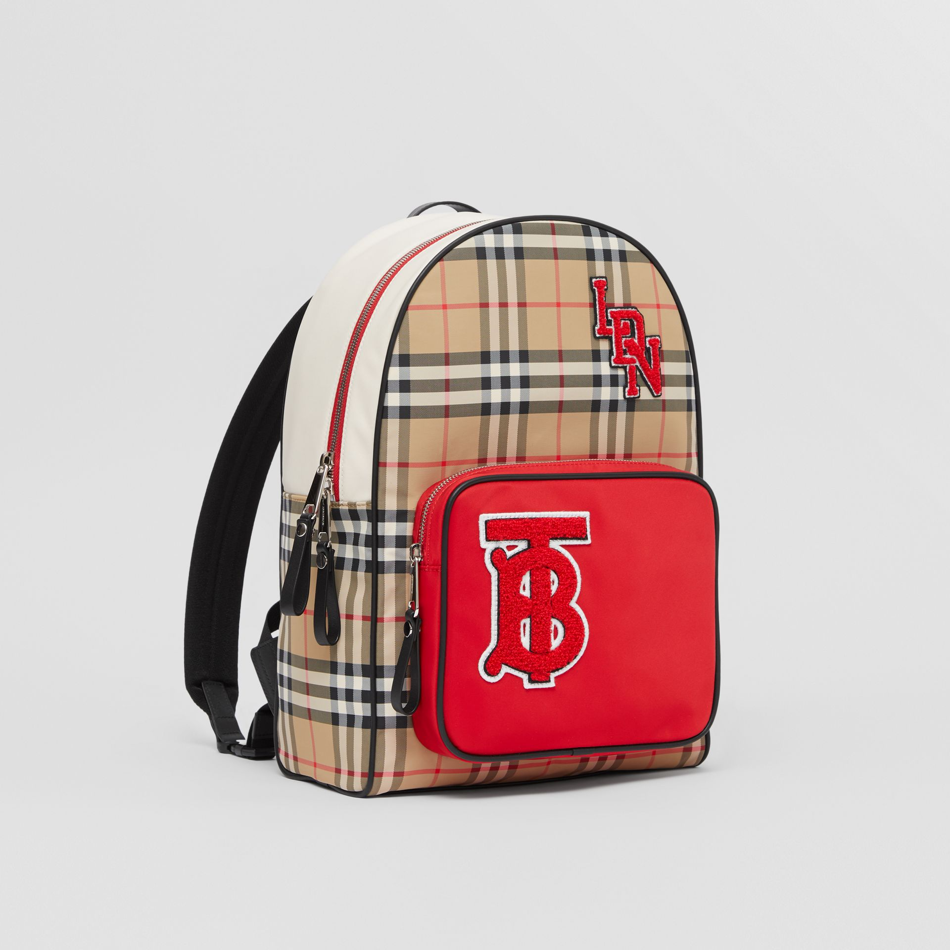 Monogram Motif Vintage Check ECONYL® Backpack in Archive Beige - Children | Burberry - gallery image 4