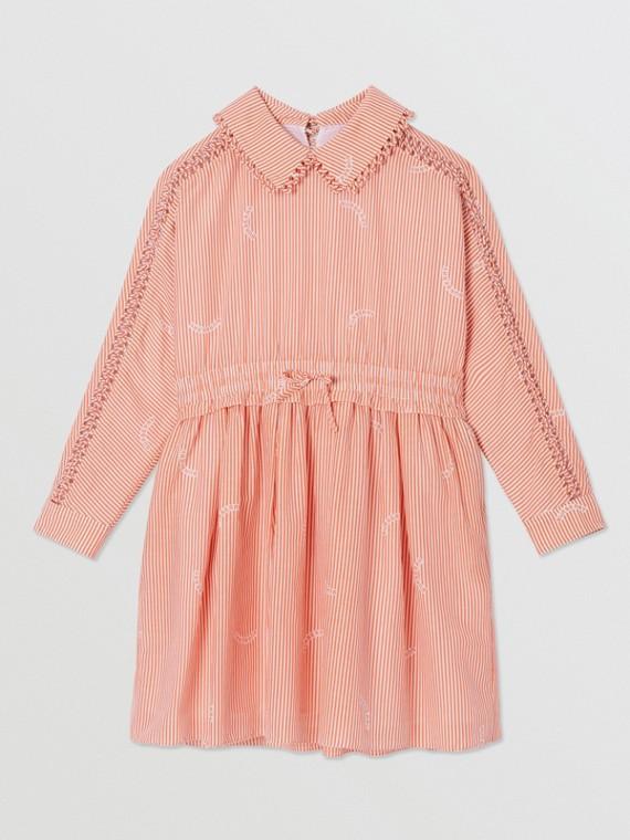 Peter Pan Collar Stripe Print Cotton Silk Dress in Coral Orange