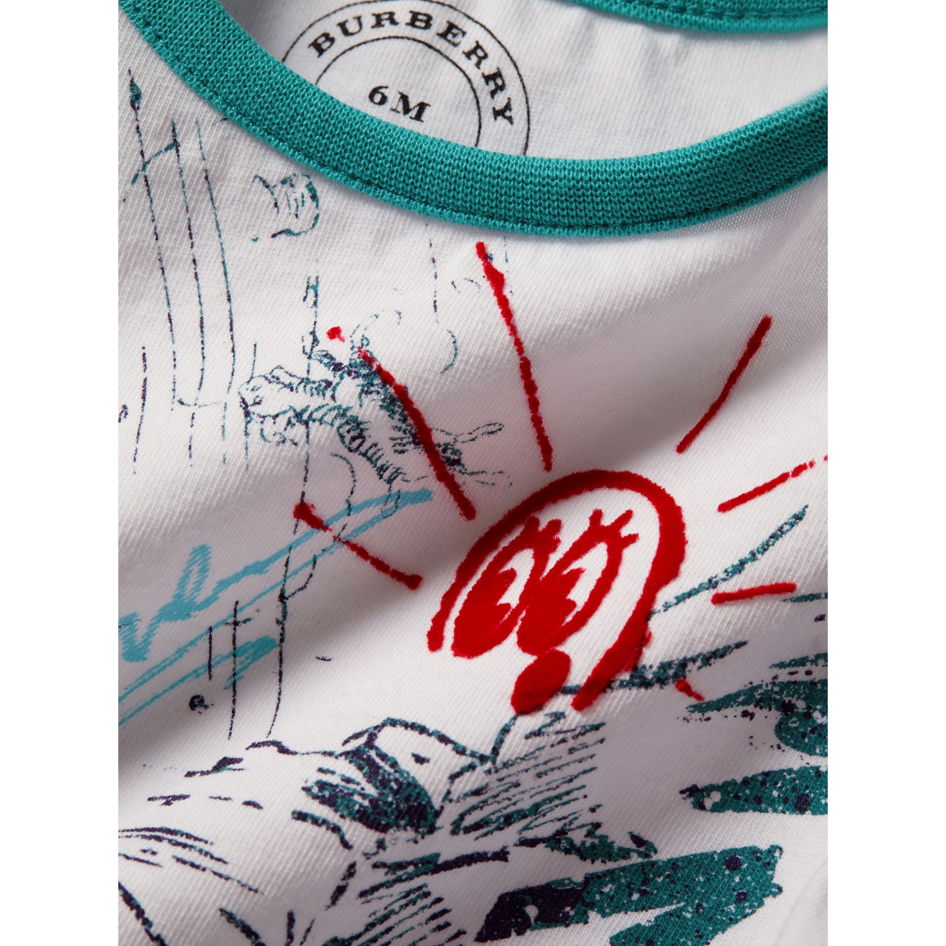 Adventure Motif Cotton T-shirt in White | Burberry - gallery image 1
