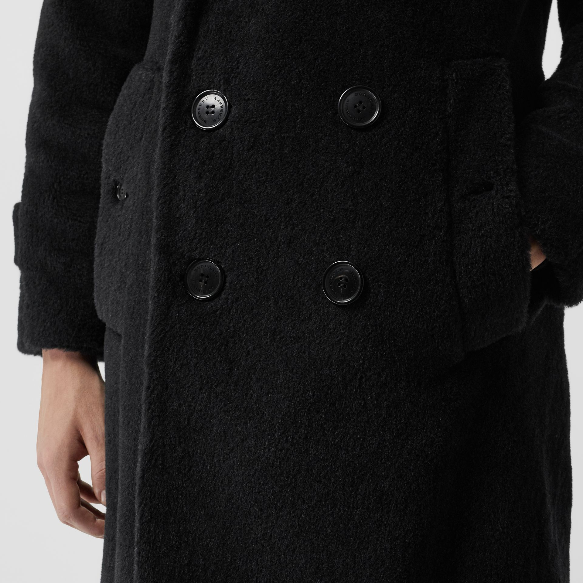 Alpaca Wool Cotton Double-breasted Coat in Charcoal - Men | Burberry - gallery image 4