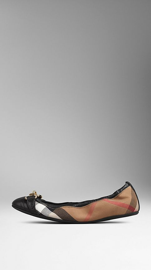 Black Buckle Detail House Check Ballerinas Black - Image 1