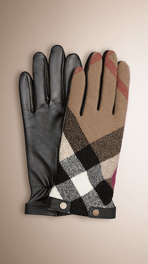 Black Check Wool and Leather Touch Screen Gloves - Image 1