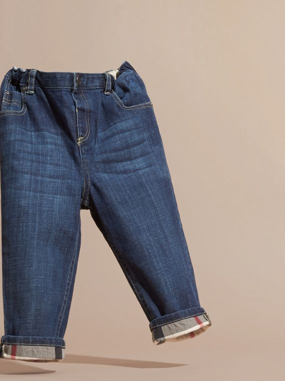 Blue Stretch Jeans with Check Detail - cell image 2